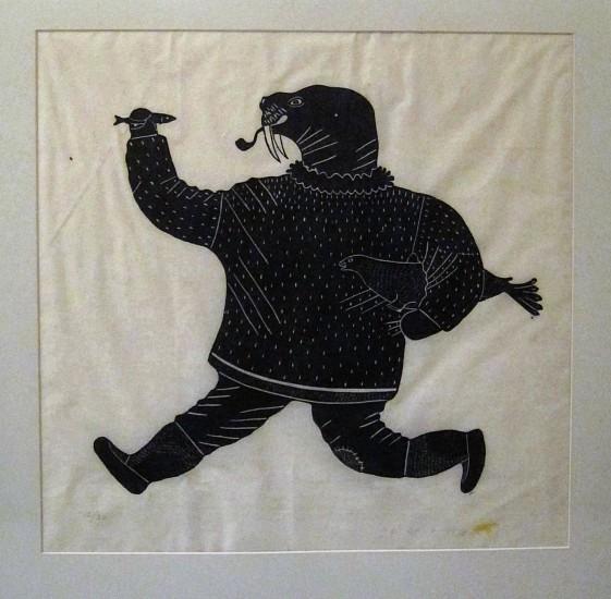 Tivi Paningajak, Walrus man, 12/26 1973, Stonecut