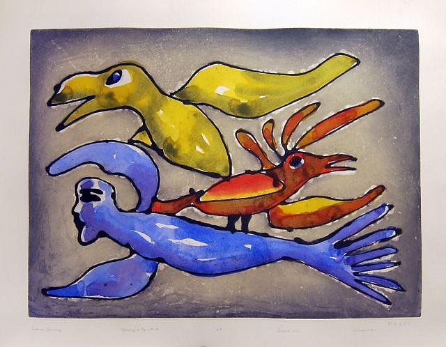 Kenojuak Ashevak, Sedna's Journey, 33/50 2011, Etching, aquatint, sugar lift and hand painting