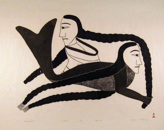 Kenojuak Ashevak, Comparing Braids, 6/50 1993, Stonecut