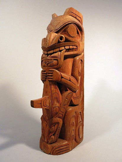 Northwest Coast Anonymous, Totem carved with bear and whale in the style of the Kitanmaax school of Northwest Coast Art (located in Ksan Village) c. 1970-1979, Carved wood