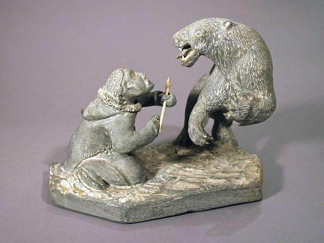 Luke Airut, Man and bear c. 1980-1989, Stone