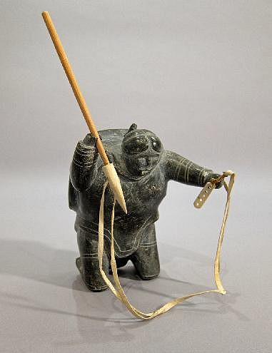Inuit Anonymous, Woman hunting seals c. 1960-1969, Stone, Wood, sinew, antler