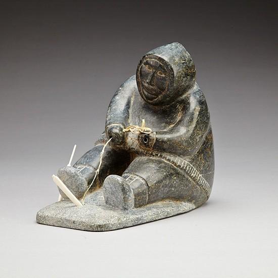 Abraham Nastapoka, Fishing hunter c. 1965, Stone, leather, antler