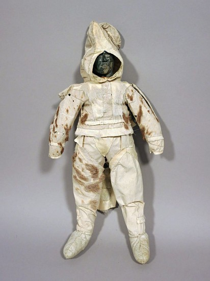Inuit Anonymous, Coppermine Inuit doll with caribou skin clothing and stone head c. 1955-65, Caribou skin with vestiges of hair, stone and sinew