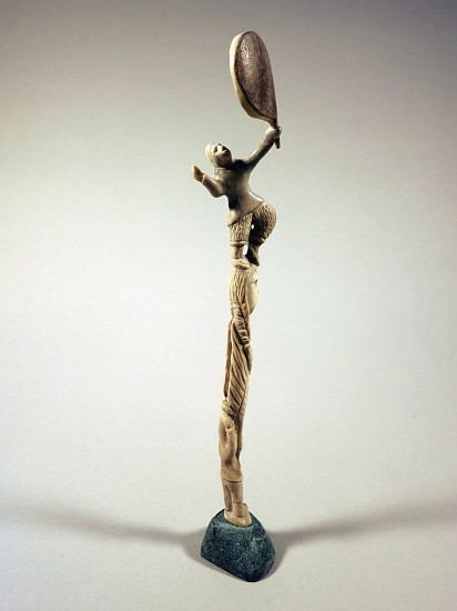 Leo Napayuk, Drum dancer and figures 2009, antler, Stone
