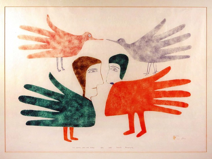 Jessie Oonark, My hands are like birds, 19/50 1984, Stonecut/stencil