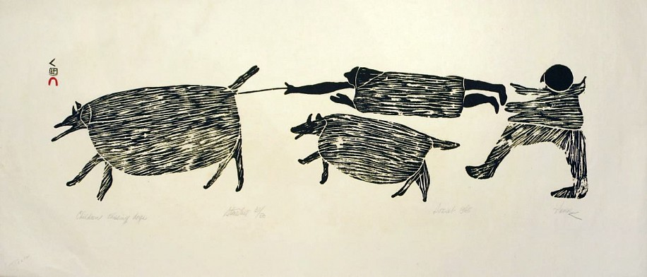 Parr ,   Children chasing dogs, 31/50, 1965/3  ,  1965     Stonecut ,  13 3/4 x 30 1/2 in. (34.9 x 77.5 cm)     Printmaker:Iyola Kingwatsiak (1933-2000)     01857-1