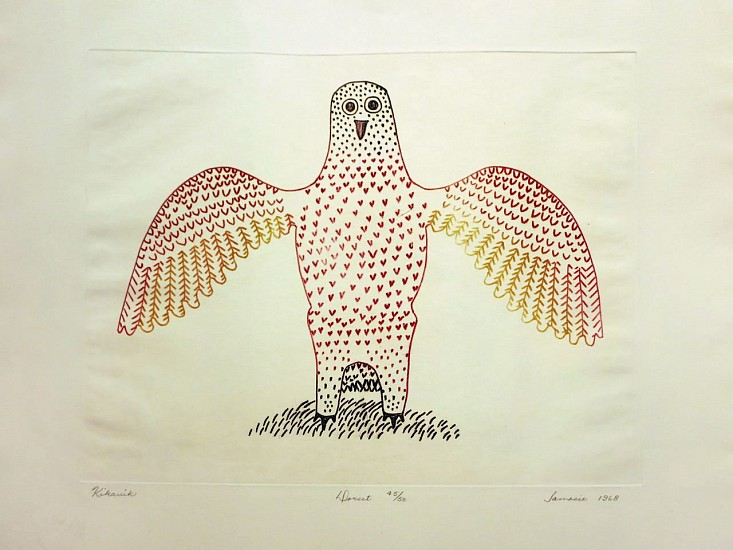 Jamasie Teevee ,   Kikavik (Owl with outspread wings), 45/50, 1968/66  ,  1968     Engraving ,  16 x 13 in. (40.6 x 33 cm)     01685-1