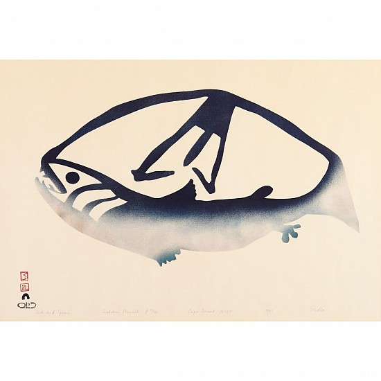 Pudlo Pudlat, Fish and spear, 40/50, 1961/20 1961, Stencil