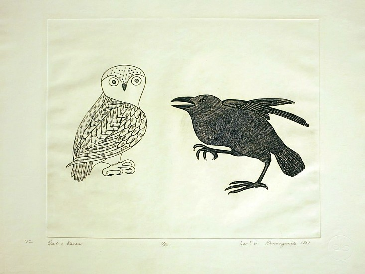 Kananginak Pootoogook, Owl and raven, 1/50, 1967/72 1967, Engraving