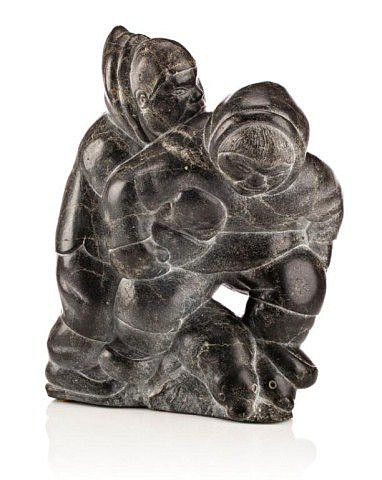 Isa Aqiattusuk Smiler, Two Hunters with Captured Seals c. 1963-1968, Stone