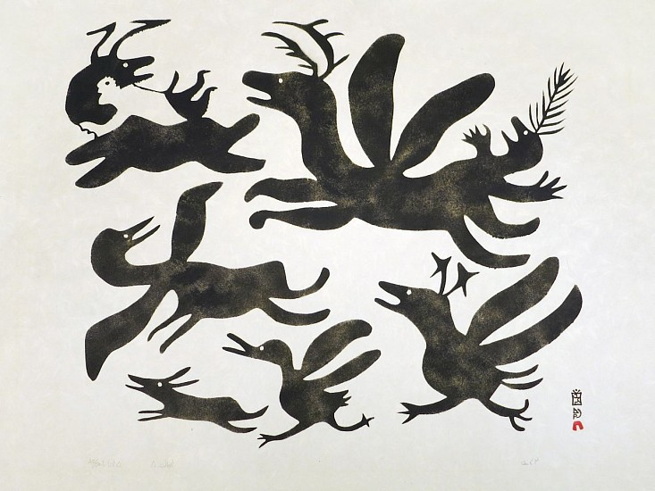 Pitseolak Ashoona, Man with Beasts, 25/50, 1963/72 1963, Stonecut