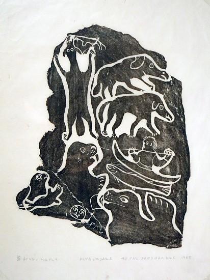 Annie Mikpigak, Hunting, 29/30, 1965/10 1965, Stonecut