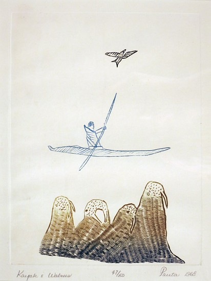 Pauta Saila, Kayak and walrus, 47/50, 1968/60 1968, Engraving three colored