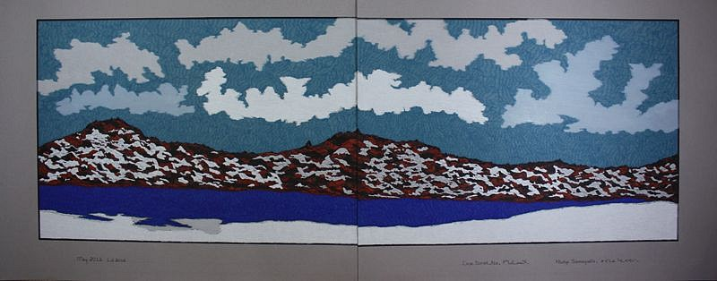Nicotye Samayualie, Untitled landscape 2012, Coloured pencil and pentel pen on paper
