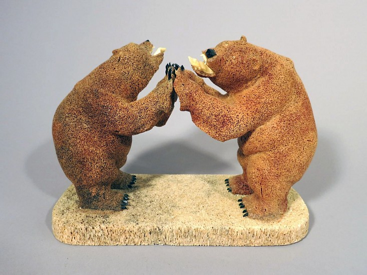 Cecil Seppill, Two bears fighting Whalebone, ivory