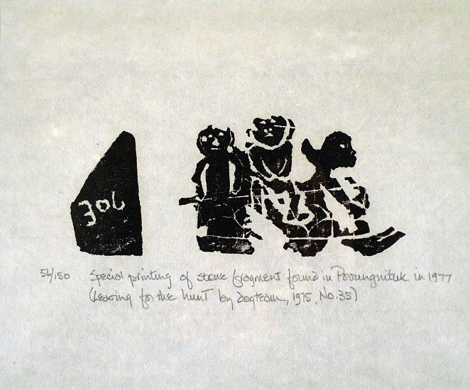 Joe Talirunili, Leaving for the Hunt by Dog Team, 56/150 1975, Special printing of a stone fragment