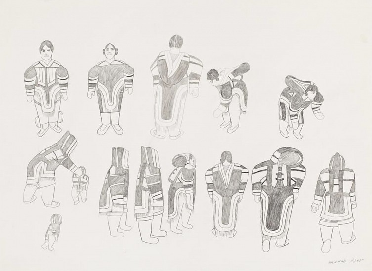 Hanna Kigusiuk, Women with their amauti designs 1987, Graphite pencil