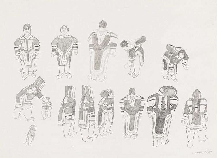Hanna Kigusiuk, Women with their amauti designs 1987, Graphite pencil