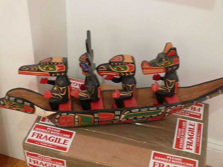 Northwest Coast Anonymous, Model canoe with animal paddlers c. 1975-1980